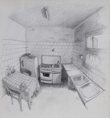 3. THE KITCHEN. Sketch. 40x34 cm. Realistic drawing school