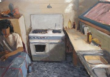 2. THE KITCHEN. Sketch. 50x70 cm. Courses on oil sketches from life