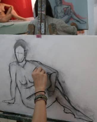 Dibuix amb model a Barcelona