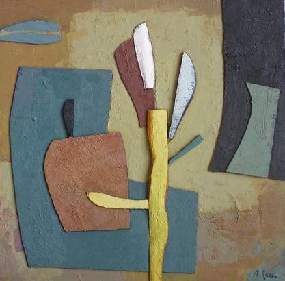 Oli, collage, fusta. Acadèmia de pintura