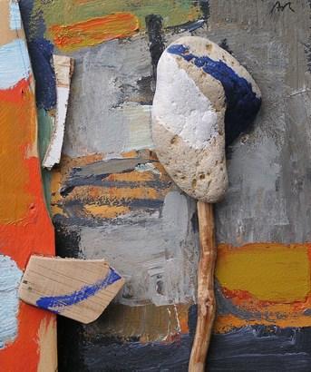 Acrílic i collage amb pedra i fusta a classe de pintura