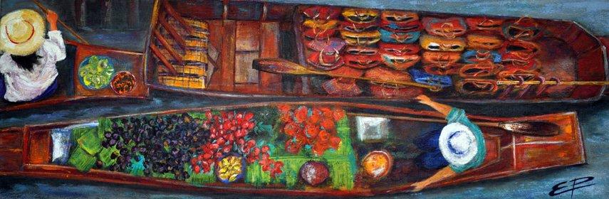 Esther Puig. Barques amb cistells. Acrílic/tela. Classes pintura Barcelona
