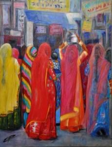 Esther Puig. Carrer amb dones. Acrílic/tela. Classes pintura Barcelona