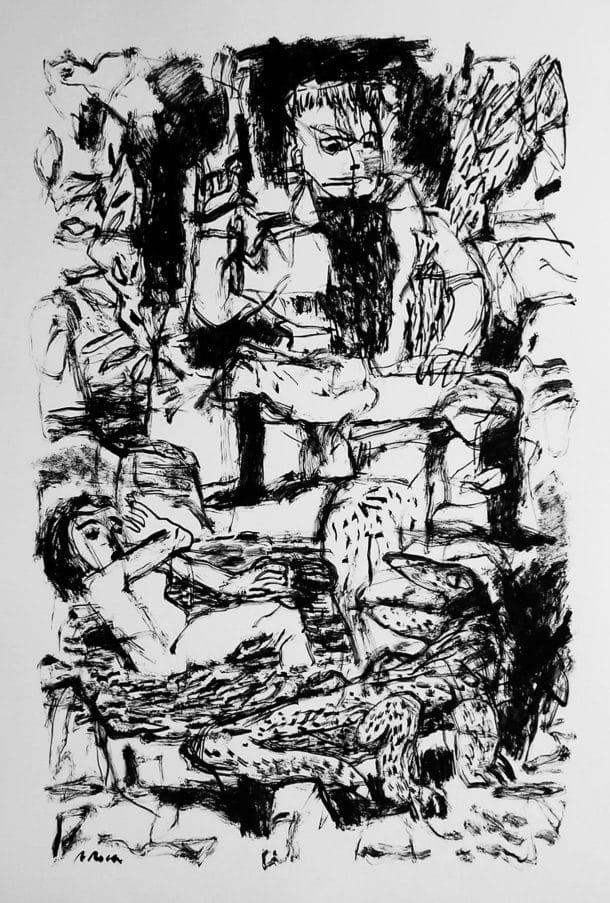 Obra a tinta Agustí Roca. Escola d'art a Barcelona