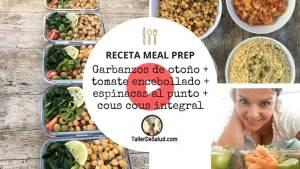 Video-Receta Meal Prep Vegana: Garbanzos de otoño + tomate encebollado + espinacas + cous cous integral