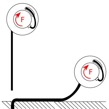 enrollador con cable completamente desenrollado