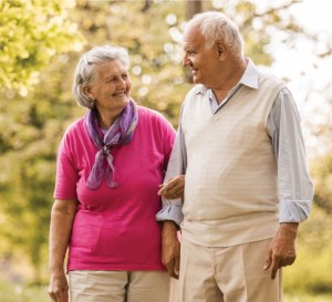 Senior couple walking on a path