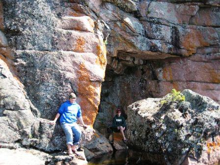 Trevor and Michael found some rocks to climb in Aerobus Bay.
