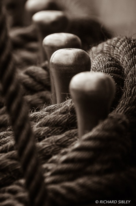 Belaying pins on deck