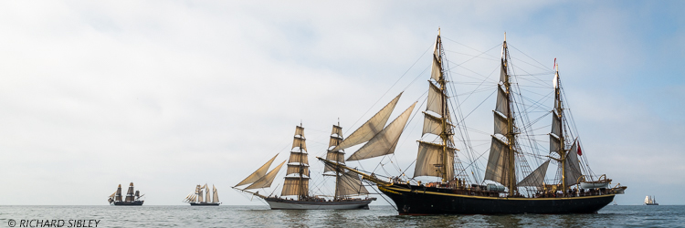 Swedish East Indiaman Gotheborg, Dutch Schooner Gulden Leeuw, Swedish Brig Trekronor, Dannish Full Rigger Georg Stage and German Brig Roald Amundsen