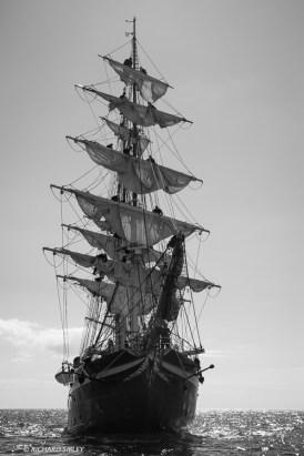 Danish full rigger Georg Stage making sail
