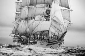 Norwegian full rigger, Sorlandet in a heavy sea.