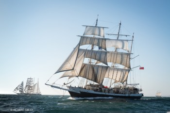 Barque Lord Nelson, Great Britain. In the background, Fryderyk Chopin, Pogoria, and Creoula