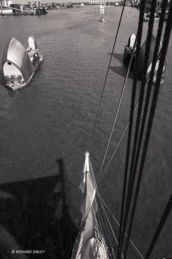 View from the foremast of the Gulden Leeuw. Parade of Sail, Royal Greenwich 2014