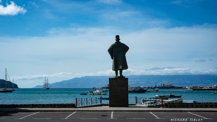 Diogo Afonso, Portuguese explorer and discoverer of Sao Vicente, looking out over Mindelo harbour and no doubt impressed by the Morgenster, riding to anchor with the island of Santo Antao behind