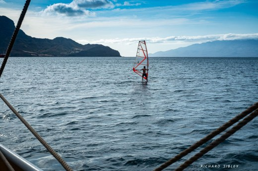 Windsurfing from the ship
