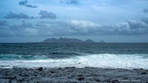 The islands of Santa Luzia, and Ilhéu Branco. Picture taken from the beach at Calhau, Sao Vicente