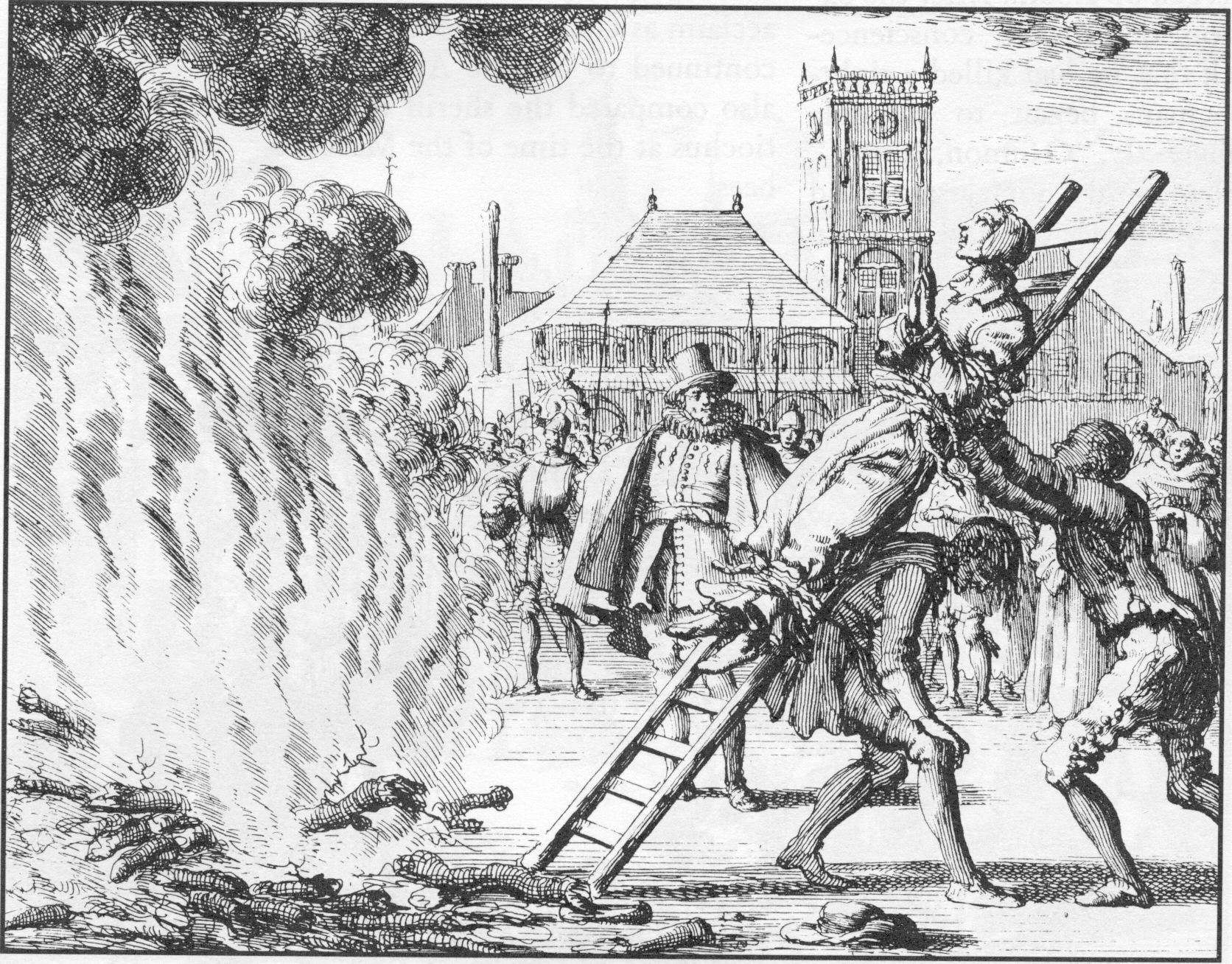 An Anabaptist being martyred in 16th century Europe