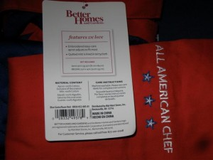 All American Mitt and apron made in China