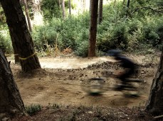 All was quiet except for the occasional whirr and thud of downhill bikes