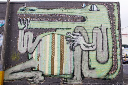 Carpark off Willis/Victoria Streets, part of a mural by BMD