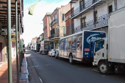 Bourbon St in the daytime: alcohol delivery trucks!