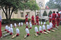 The saxophone section gathering for practice