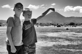 The boys and Mt Ngauruhoe which they had climbed earlier in the month