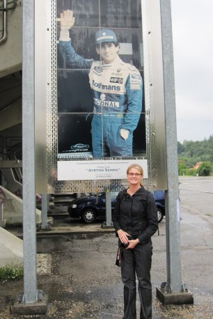 A picture of Ayrton Senna adorns the rear of the grandstand
