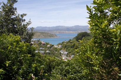 A peek through to Lyall Bay and beyond it the harbour entry