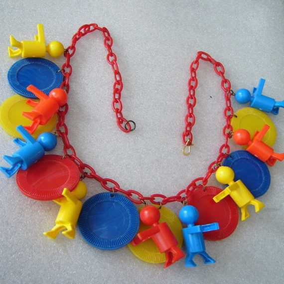 Vintage style early plastic red blue yellow Little People charms necklace