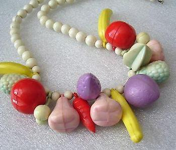 Vintage early plastic 1960s fruits salad Carmen Miranda necklace