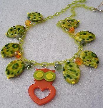 Vintage style plastic owl necklace