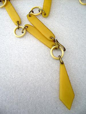 Vintage art deco off white celluloid early plastic belt necklace