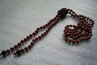 Vintage old Czech glass 1940s flapper long knotted necklace