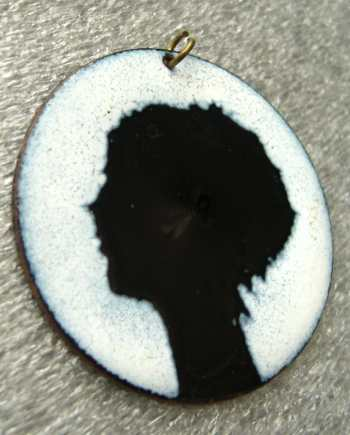 Vintage 1960's enamel woman head profile pendant