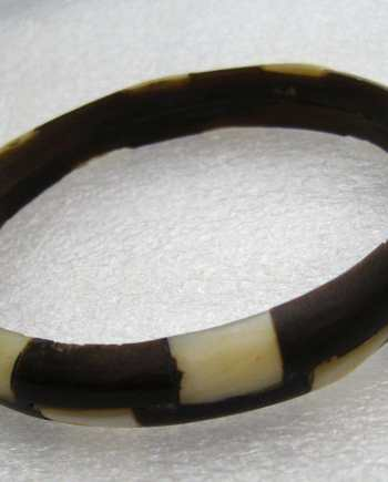 Vintage plastic black and white chess bangle
