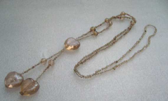 Vintage old antique pink glass hearts and tiny beads flapper necklace