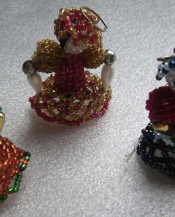 Vintage hand made beads' dolls pendants - lot of 3