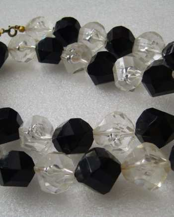 Vintage black and clear 1960's faceted lucite  plastic beads necklace