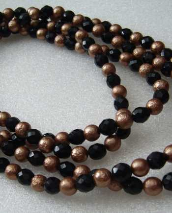 Vintage old copper-color and black glass beads necklace