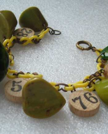 Vintage bakelite and wood bracelet on celluloid chain