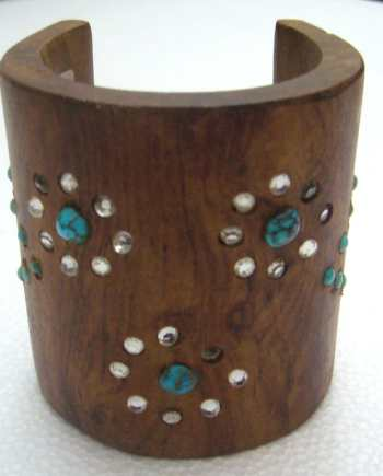 Vintage huge wood , rhinestones and turquoises cuff bracelet bangle