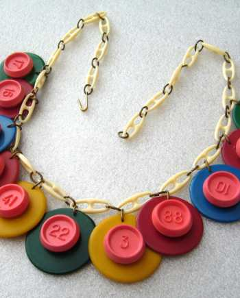 "Vintage galalith & early plastic ""numbers"" art deco necklace"
