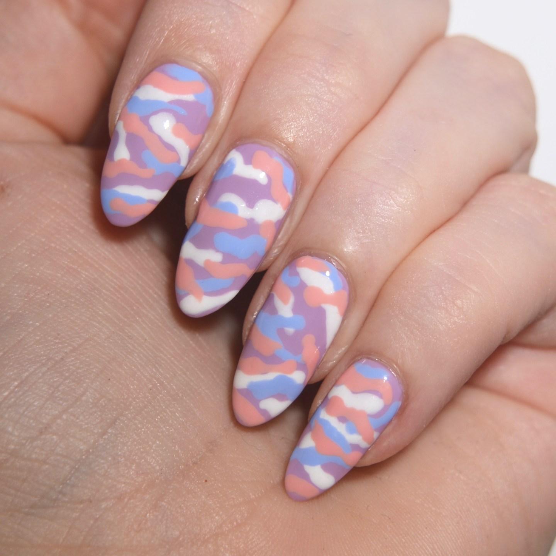 Pastel camouflage nail art