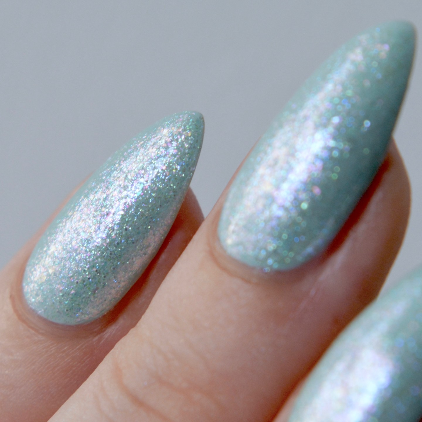 Nails Inc Mindful Manicure swatches 'Balancing Act' (over light blue polish)