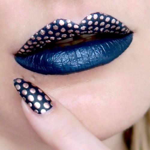 Navy glue and rose gold polka dots, nail art and matching lip art (Talonted Lips And Tips)