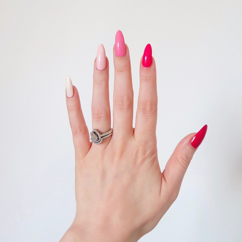 Pink gradient manicure with essie nail polish - Talonted Lex