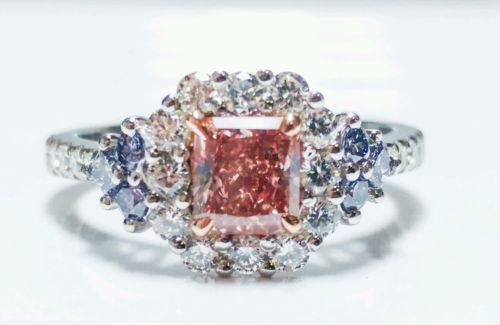 Platinum Ring 1.30ct Natural Fancy Intense Pink And ARGYLE Blue GIA Radiant Red