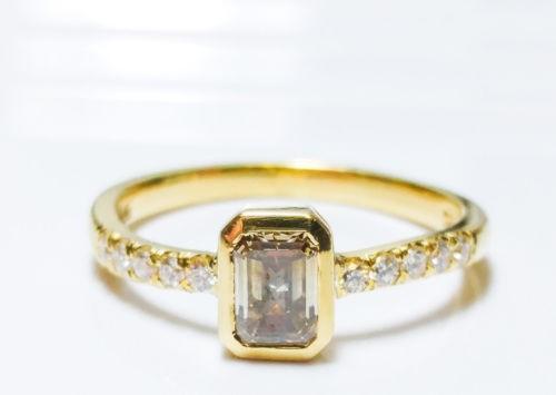 0.70ct Fancy Gray Diamond Engagement Ring G SI1 18K VS2 All Natural Emerald Cut